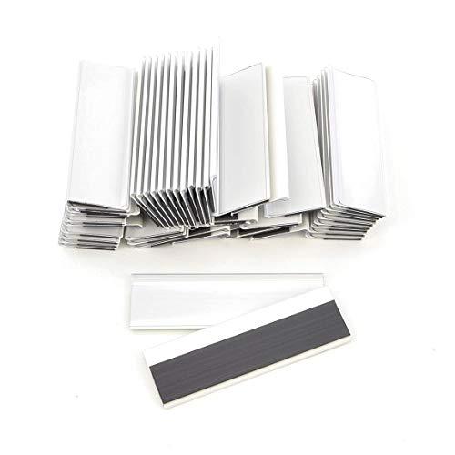 Soporte magnético para etiquetas, 100 mm de ancho, soporte para tickets, soporte para etiquetas, 28 mm Höhe, Blanco, 50