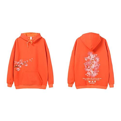 JYQH Jersey de terciopelo con estampado floral antiguerra, estilo hip hop, para parejas, color naranja y XXL