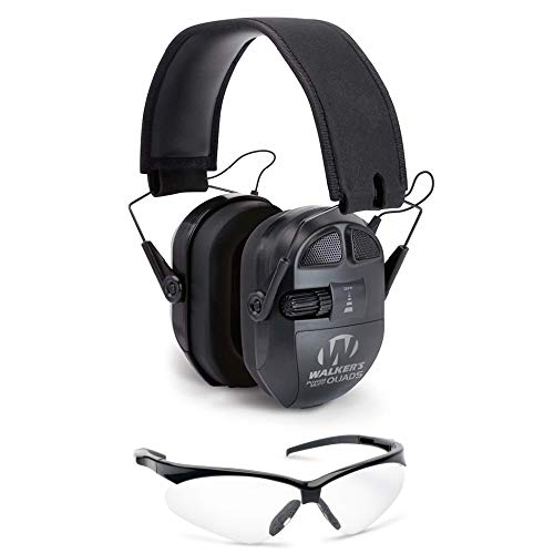 Walkers Game Ear Ultimate Power Muff Quads Shooting Hearing Protection (Black) and Crosshair Glasses Range Safety Bundle (2 Items)