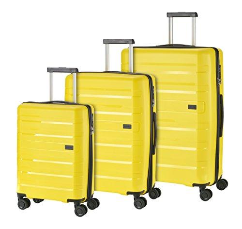 Travelite Kosmos 4 Rollen Hartschalenkoffer-Set, 3 Größen (55 cm / 67 cm / 77 cm), Gelb