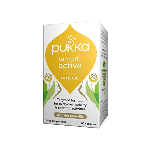 Pukka Turmeric Active, Organic Herbal Supplement, Total Spectrum Turmeric, Boswelia and Ginger, Enhanced curcumin absorption, For Active Lifestyles, Suitable for Vegetarians & Vegans (60 caps)
