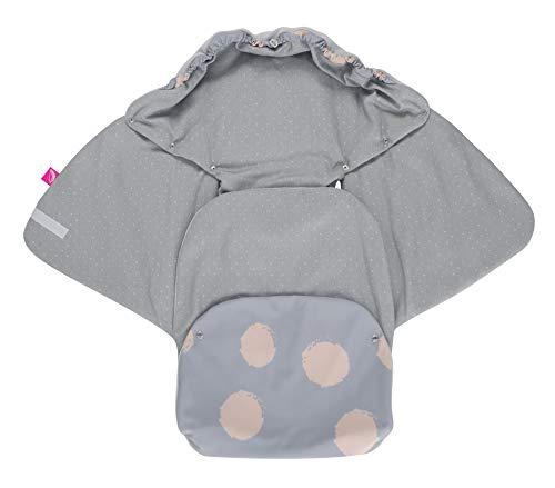 Baby Softshell Einschlagdecke für Babyschale, Autositz, Maxi-Cosi, Römer und andere Marken, ideal für Kinderwagen, Fahrradanhänger, Buggy - Kleckse apricot