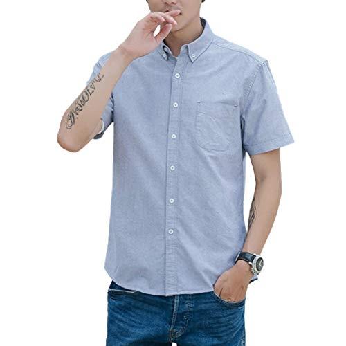 Camisas de Manga Corta para Hombre, de Corte Regular, Color sólido, clásico, básico, Informal, con Botones, Blusas de Primavera y Verano Large