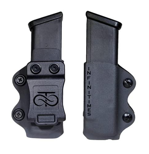 INFINITIMES Portacargador Pistola - Funda para Cargador - Soporte de polímero - Funda para Pistola Cargador - 9mm/40/45 ACP/Airsoft Militar táctico Defensa - IWB OWB- Glock- HK- USP- kydex - M
