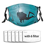 BOKEKANG Diver Surrounded with Jamb of Fishes Scuba Snorkel Aqualung Water Sports Dust Washable Reusable Filter and Reusable Mouth Warm Windproof Cotton Face