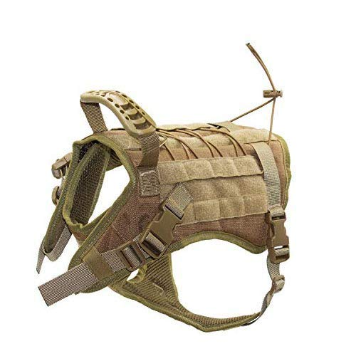 EJG Tactical Dog Harness Vest, with Molle System & Velcro Area, No Pulling Design, Comfy Mesh Padding, for Service Dogs, Military Training Hunting Hiking, for Medium Large Dogs (Medium, Tan)