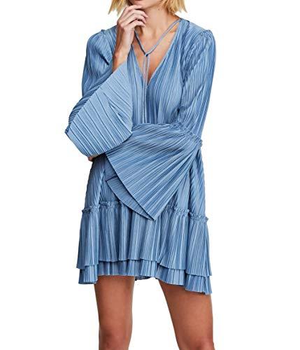 Free People Womens Can't Help It Boho Bell Sleeves Mini Dress Blue XS