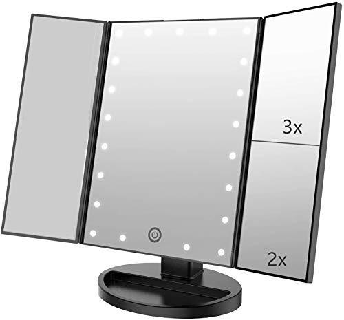 Infitrans Specchio con Luce,Specchi da Tavolo con Touch Screen Tri-Fold, ingrandimento 1x / 2X / 3X e Caricatore USB o Wireless, Luce LED Regolabile a 180 ° per Il banco da Viaggio (Nero)