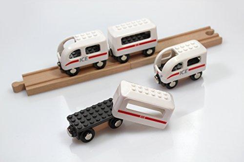 Noppi Eisenbahn - DB Ice (in Weiss) kompatibel für Holzeisenbahn und Noppenbausteinen