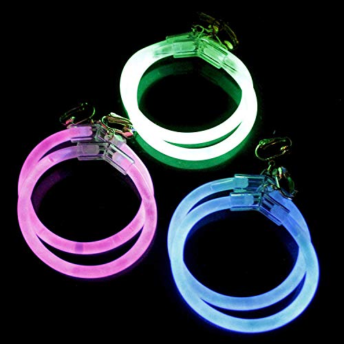 6 Pack - 2.5 Inch Glow Hoop Earrings Bulk Party Favors - Assorted Colors