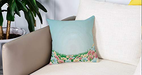 Luoquan Pillowcase Decorative bedroom Home sofa Waist Chair cushion cover,Garden,Curvy Fresh Meadow with Pastel Colored Daisies Pansies Yard Growth Coun,Office Bar Car Decor 18x18 Inch/45x45 cm