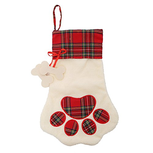 LO LORD LO Christmas Paw Stocking for Pet Dog Cat Large Chirstmas Stockings Bone for personalize (red)