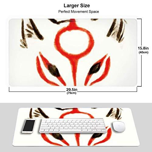 Extra großes Mauspad -Okami Amaterasu Head Desk Mousepad-3 mm dick (15,8 x 29,5 Zoll) - XL-Tastatur-Tischmaus-Schutzmatte für Computer/Laptop