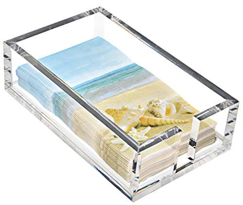 Acrylic Guest Towel Holder for Bathroom Paper Napkin Hand Towels Lucite Tray Luxury Napkins Clear Basket Modern Rectangle for Bathrooms