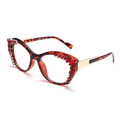 Diamante Cat Eye Gafas Rhinestone Marcos Mujeres Transparente Gafas Espectáculos Gafas Marcos Hombres (Color : 5, Size : J)