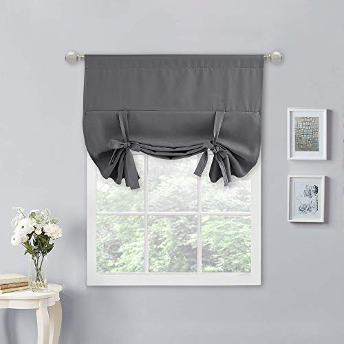 NICETOWN Blackout Short Kitchen Curtain - Roll Up Window Tie Up Shades for Campers/Bathroom Window (1 Piece, Grey, 34 inches W x 45 inches L)