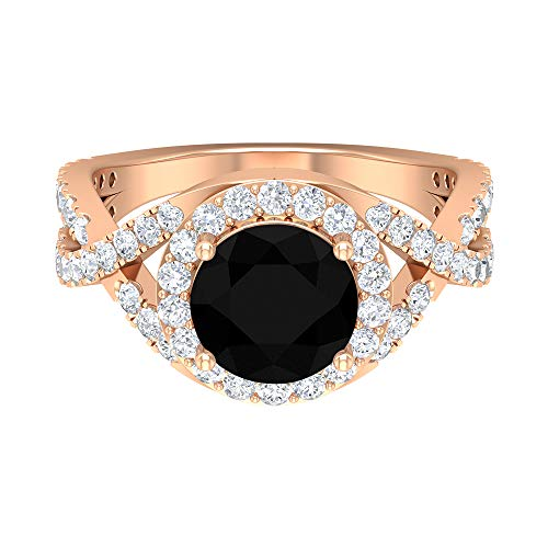 April Birthstone - Solitaire Round Shaped 8 MM Black Diamond Ring with Halo Moissanite 3.26 CT, Crossover Engagement Ring, Side Stone Ring, 14K Rose Gold, Size:UK P