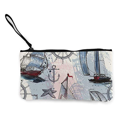 Hand Drawn Ships Canvas Wallet Exquisite Coin Purses Small Canvas Coin Purse is Used to Hold Coin Change, Id and Other