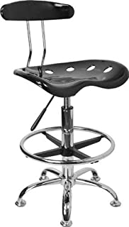 Flash Furniture Vibrant Black and Chrome Drafting Stool with Tractor Seat (Renewed)