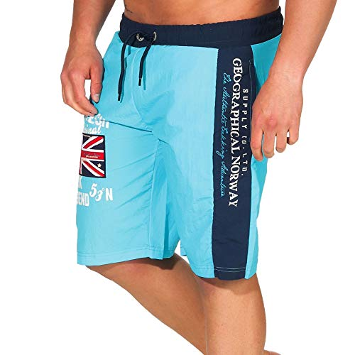 Geographical Norway Herren Badeshorts Quodesh mit Patches Knielang Turquoise L