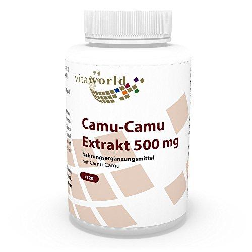 Vita World Camu Camu Extrait 500mg 120 Capsules végétales 125mg de vitamine C naturelle par capsule Made in Germany