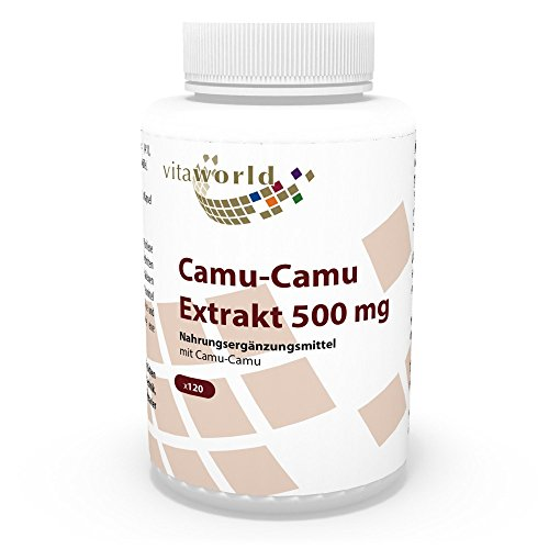 Vita World Camu Camu Extrait 500mg 120 Capsules végétales 125mg de vitamine C naturelle par capsule Made in Germany