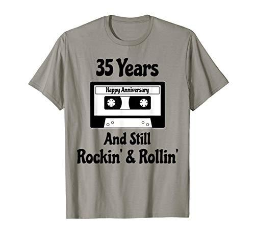 35th Wedding Anniversary Gift 35 Years Cassette Tape Music T-Shirt