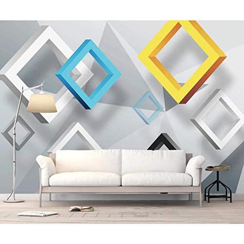Fotobehang abstract geometrisch vierkant groot formaat 3D behang Home Decor Nieuw behang wand behang 280 cm (B) x 180 cm (H)