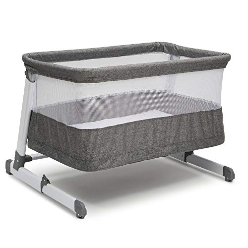 Simmons Kids Room2Grow 2-in-1 Newborn Bedside Bassinet & Infant Sleeper - Height Adjustable Portable Crib with Wheels & Airflow Mesh, Grey Tweed