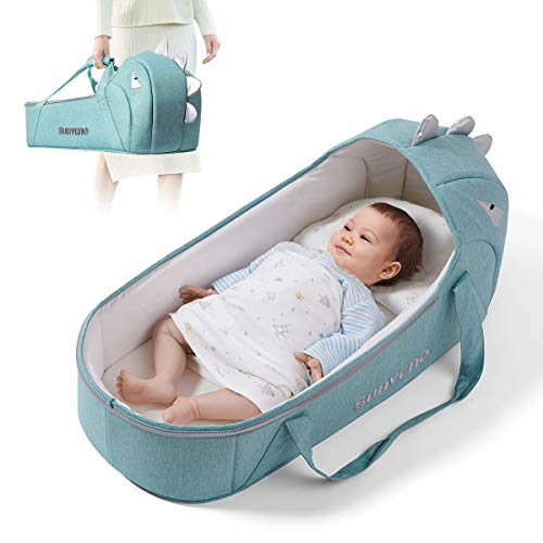 SUNVENO Baby Bed & Baby Lounger, Moses Basket Bassinet Bedside Sleeper Newborn Infant Travel Bed Carrycot for 0-12 Months (Green)