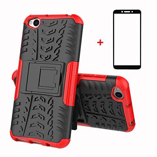 FullProtecter Funda Xiaomi Redmi Go Grados Caso Caja Rojo, Anti-Choquesy Anti- Arañazos Silicona Case para teléfonos móviles Antigolpes TPU +2 Pack Protector de Pantalla para Vidrio Templado