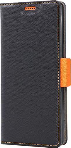 【Corallo】 Xperia5 ケース 手帳型 ストラップ 付き マグネット 式 ベルト スタンド 機能 薄型 スリム 手帳 レザー カバー カード 収納 付 スマホケース [ Sony Xperia 5 ソニー エクスペリア5 対応 ] NU ブラック×オレンジ