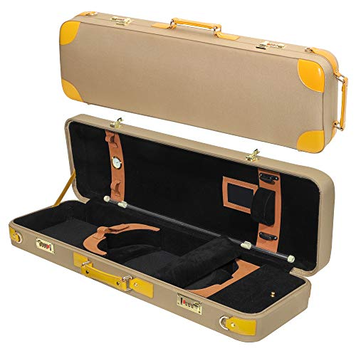 MI&VI Deluxe Hardwood Violin Travel Case 4/4 (Full Size) With Leather Handles   Adjustable Shoulder Straps   Thermal Insulation   Oblong Shape   Photo Pocket   Hygrometer- By MIVI Music (Yellow/Beige)