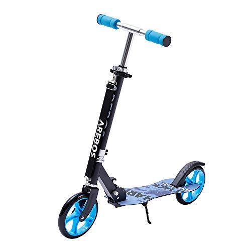 Arebos Tretroller Scooter | XXL Räder | Tragegurt & Seitenständer | rutschfeste Trittfläche | Höhenverstellbar | Tritt-Bremse | max. 100 kg | Blau