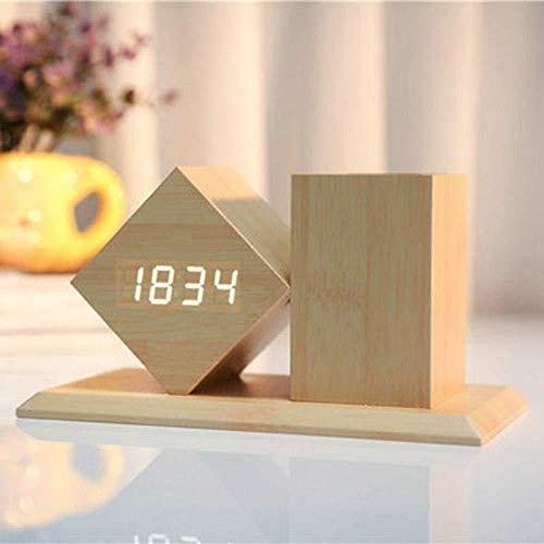 DZXYW Reloj Despertador Despertador LED con Estuche para lapiceros Reloj Digital de Silencio Temperatura Control de Sonido Monitor LED Reloj de Escritorio de Escritorio