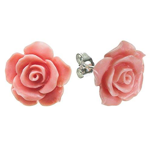 Orecchini in argento Sterling color corallo simulato a forma di rosa, da 15 mm, chiusura a farfalla e argento, colore: Pink, cod. QE1122-223X2