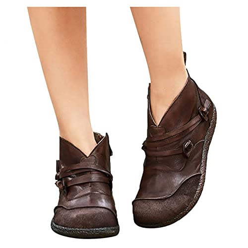 Padaleks Botas de vaquero para mujer, tacón plano, puntera redonda, botines de invierno, estilo vintage, cómodos de piel, zapatos para caminar