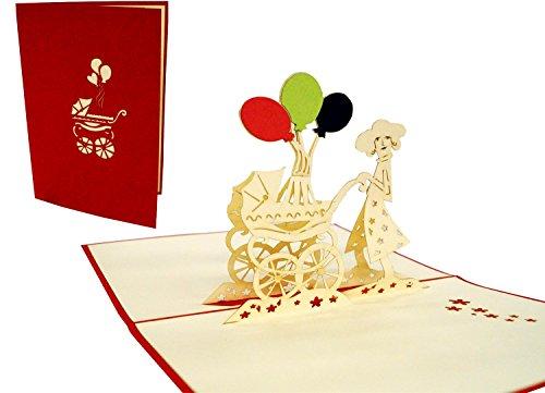 LIN-POP UP 3D wenskaarten wenskaarten geboortekaarten wenskaarten wenskaarten geboorte babykaarten, mama met kinderwagen