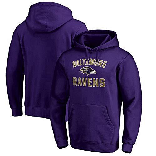 WZ Herren Pullover - NFL Football Baltimore Ravens Klassische Micro Velvet Herbst Und Winter Hoodies Für Liebe-Geschenke Für Rugby Familie Und Freunde,Lila,XL:175~180cm