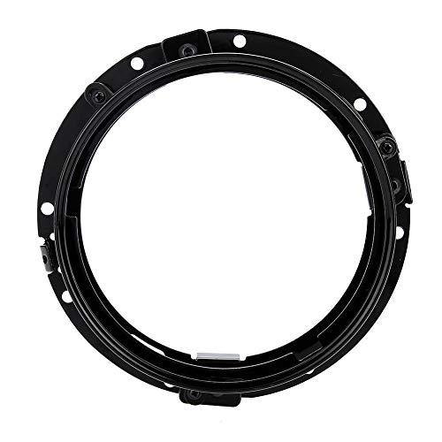 Anneau Support de Fixation Bague de Support de Phare de Montage Rond de 7 '' en Alliage d'Aluminium Noir Argent (Black)