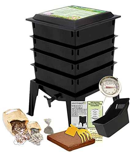 Worm Factory 360 Black US Made Composting System for Recycling Food Waste at Home