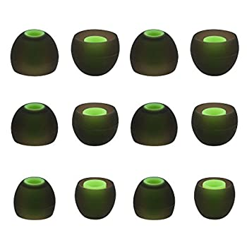 ALXCD Ear Tip for Photive PH-BTE70 Earphone SML 3 Sizes 6 Pair Silicone Replacement Earbud Tip Fit for Photive PH-BTE70 Wireless Bluetooth Earbuds [6 Pair] Black/Green