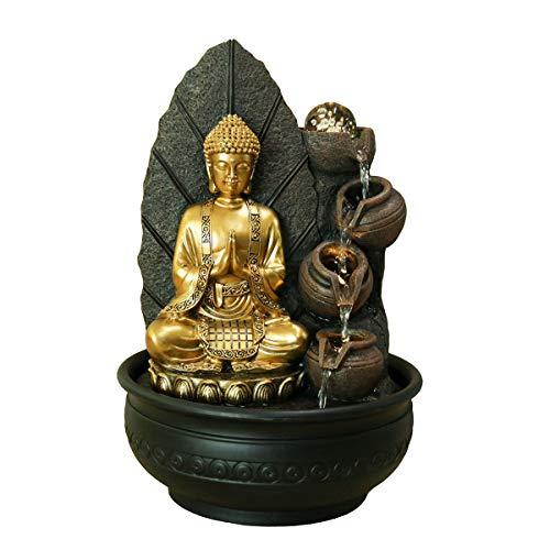 Verre Cadeaux Fontaine Décorative Bouddha Doré Bouddhisme Hindu 41 cm