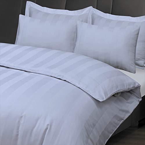 Linen Zone - 300 Thread 100% Egyptian Cotton Satin Stripe Duvet Cover Set Luxury Hotel Quality (White, Single)