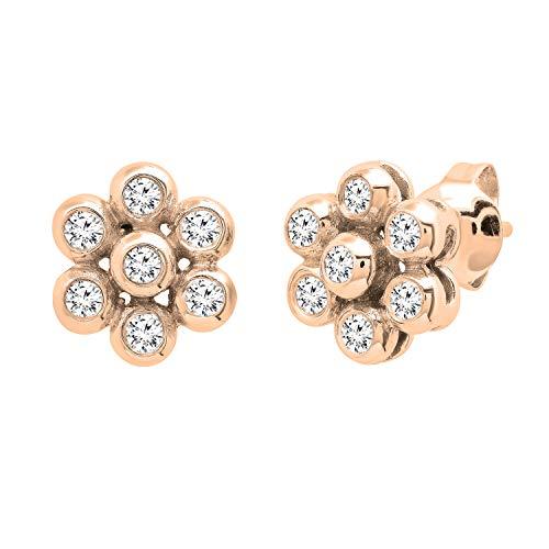 Dazzlingrock Collection Pendientes redondos de 0,60 quilates de diamantes blancos para mujer, oro rosa de 14 quilates