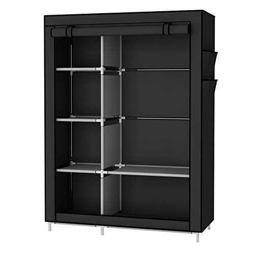 UDEAR Armario Closet Organizador Plegable para Ropa Ropero Resistente al Polvo Guardarropa Negro 105 x 45 x 170 CM