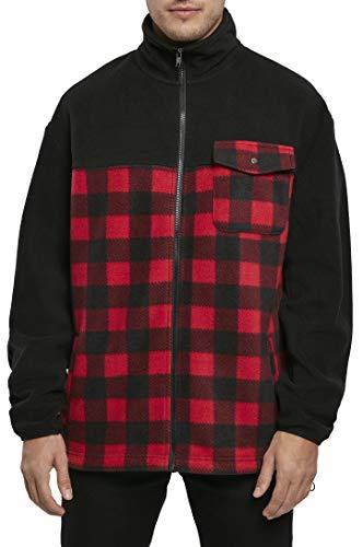 Urban Classics Patterned Polar Fleece Track Jacket Vestes, Noir/Rouge/Carreaux, S Homme