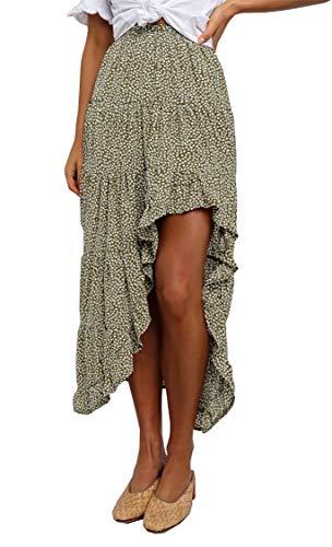 BTFBM Women Boho Floral Print Long Skirt Chic High Low Side Split Ruffle Hem Elastic Waist Swing Maxi Cotton Dress (Green, Small)