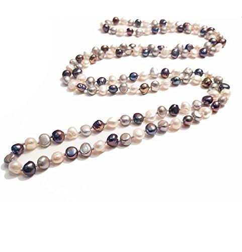 TreasureBay - Collana con perle d'acqua dolce 5 in 1, elegante e classico, 120 cm, presentata in una bella confezione regalo, colore: nero, grigio, bianco., cod. 120cmTBPST