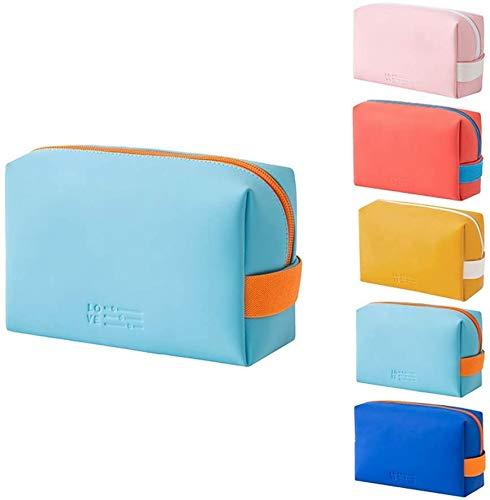 Swadal Neceser portátil para cosméticos, neceser de viaje, adecuado para dormitorio, tocador, baño, viajes (azul claro)